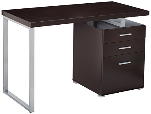 Coaster Home Furnishings  Modern Contemporary Reversible Office Desk with File Cabinet - Cappuccino (Cabinet File Desks)