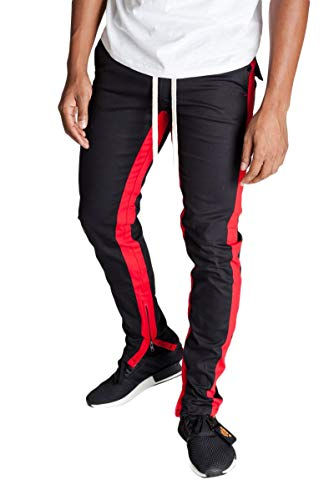 KDNK Men's Tapered Skinny Fit Stretch Drawstring Ankle Zip Striped Track Pants (Small, Black/Red Stripes)