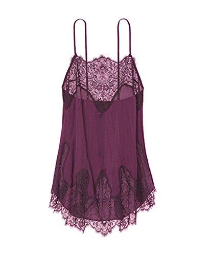 Price comparison product image Women's Classy Babydoll Lingerie Purple Chemise Sleepwear Mini Sheer Dress
