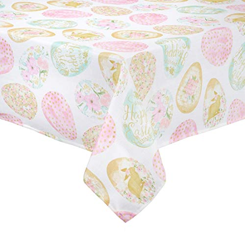 (Easter Tablecloth Decorated Eggs Print Easy-Care Fabric (52 x 70)