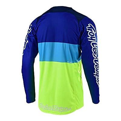 Troy Lee Designs Men's Off-Road Motocross Motorcycle SE Beta Jersey (Flo Yellow/Blue, Medium): Automotive
