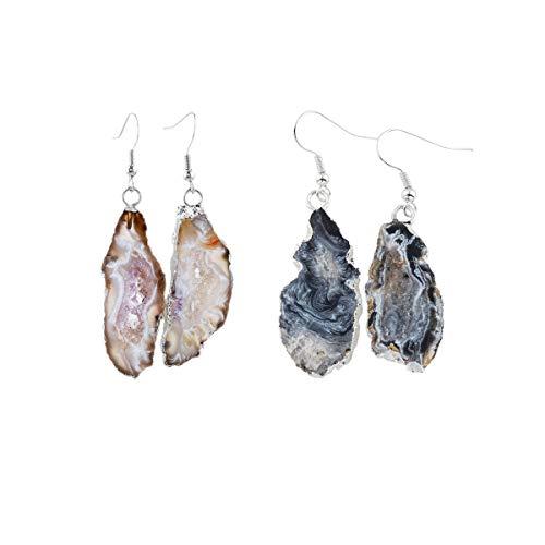 Agate Earrings Stone (Nupuyai Natural Stone Drop Earrings for Women, Druzy Agate Geode Crystal Quartz Dangle Hook Earrings for Girls)