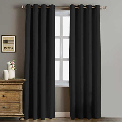 RHF Blackout Thermal Insulated Curtain - Antique Bronze Grommet Top for bedroom, curtains for living room, Grommet curtain, 1 panel, 52W by 84L Inches-Black