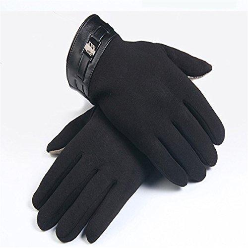 HN Winter Mens Full Finger Smartphone Touch Screen Cashmere Gloves Mittens Gloves Unisex TextingTouch Screen Gloves for Smartphones (Black)
