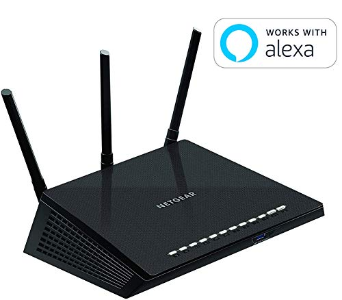 (NETGEAR Nighthawk Smart WiFi Router (R6700) - AC1750 Wireless Speed (up to 1750 Mbps) | Up to 1500 sq ft Coverage & 25 Devices | 4 x 1G Ethernet and 1 x 3.0 USB ports | Armor Security)
