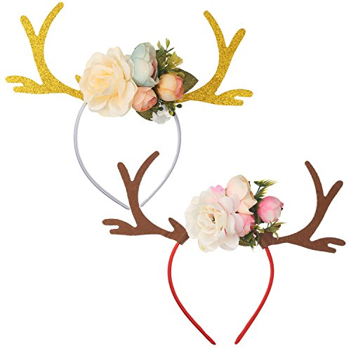 Make Deer Antlers Costume (Mtlee 2 Pieces Mixed Kids Girls Funny Deer Antler Headband with Flowers Blossom Hair Band for Christmas Fancy Dress Costumes Accessory Birthday or Christmas Gift)