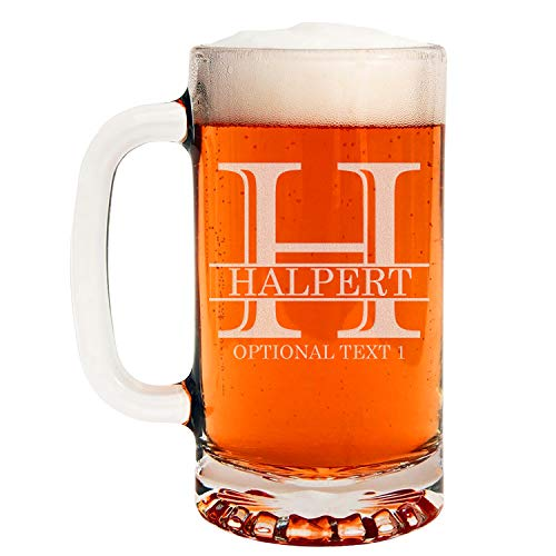Personalized Etched Monogram 16oz Glass Beer Mug