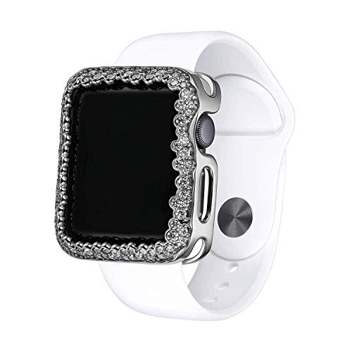 .925 Sterling Silver & Rhodium Plated Champagne Bubbles Jewelry-Style Apple Watch Case with Cubic Zirconia CZ Border - Small (Fits 38mm iWatch)