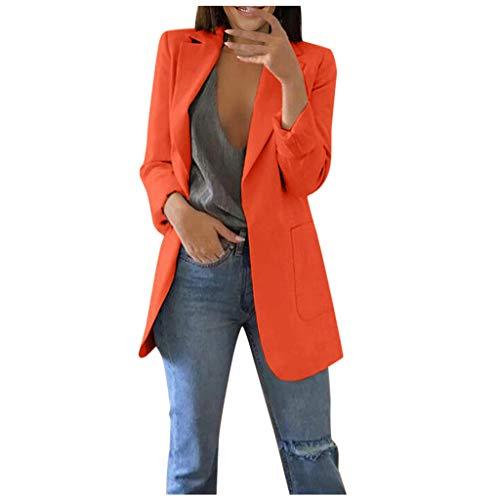 TIFENNY New Suit Blazer for Women Autumn Long Sleeve Office Coat Baggy Slim Cardigans Suit Long Jacket Tops Orange