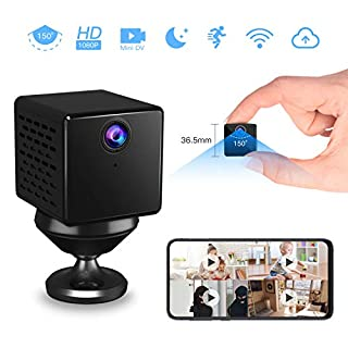 VStarcam 1080p Mini Hidden Camera Mini Spy Cam Wireless Hidden Nanny Cam with Night Vision& Motion Detection Battery Powered Loop Recording Spy Cam for Home& Office Security Monitor (Without TF Card)