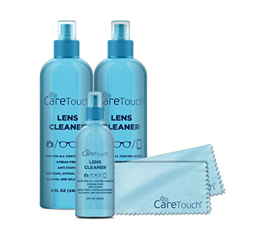 Care Touch Lens Cleaner Kit Safe for Glasses, Screens, Coated Lenses and Eyeglasses - Includes 3 Lens Cleaning Spray Bottles - Ammonia Free and 2 Microfiber Cloths