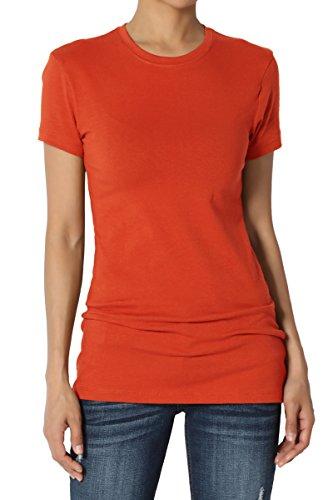 TheMogan Women's Basic Crew Neck Short Sleeve T-Shirts Cotton Tee Copper (Ladies Basic Crewneck Tee)