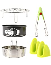 "Pressure Cooker 5 Piece Accessory Set, Instant Pot Tools, 8, 6, 5qt, Egg Steamer Rack, 7"" Non-Stick Springform Cheesecake Pan, Steam Basket, Silicone Oven Mitts, Dish Clip, Stainless Steel"