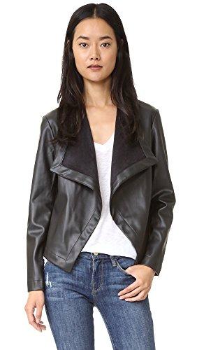 BB Dakota Women's Peppin Vegan Leather Drapey Jacket, Black, Large (Bb Dakota Leather Jacket)