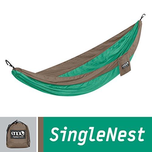 ENO Eagles Nest Outfitters - SingleNest Hammock, Portable Hammock for One, Portable Hammock for One, Emerald/Khaki (FFP)