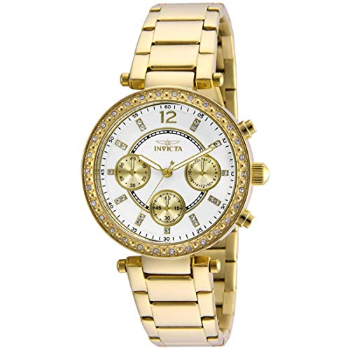 Invicta Women's 21387 Angel 18k Gold Ion-Plated Stainless Steel Bracelet - Textured Dials Detailed