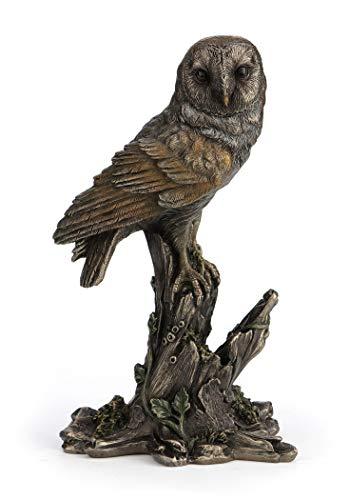 (Barn Owl Perched on Tree Stump Figurine)