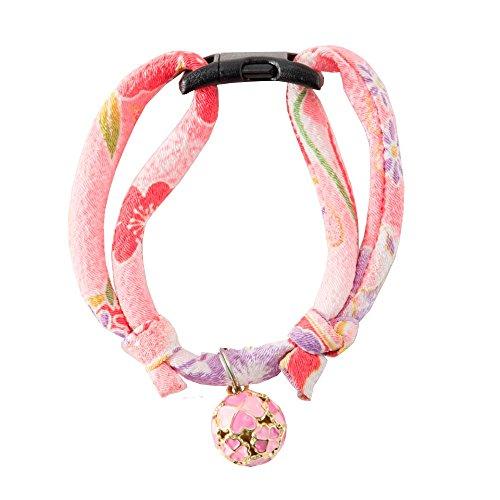 Bell Clover (Necoichi Chirimen Cat Collar with Clover Bell (Pastel Pink))