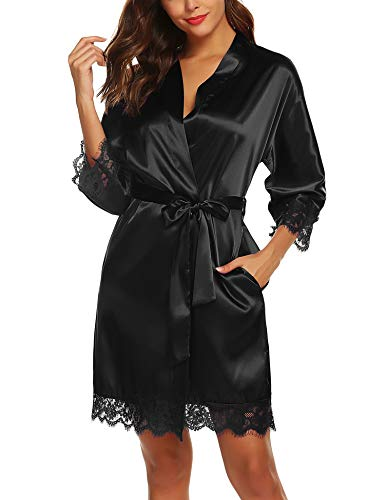 URRU Women's Kimono Robe Satin Lace Trim Bathrobe Short Silk Bridal Robe Black XL