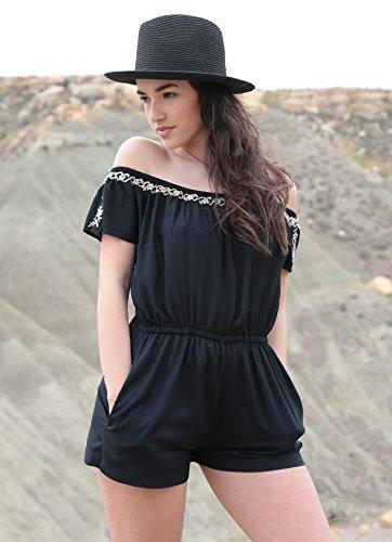 Combishort noir à détail brodé à épaules dénudées