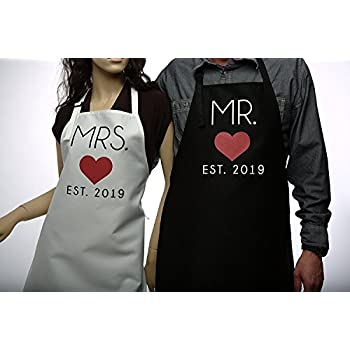 b5a2bec8 GSM Brands Mr. and Mrs. 2019 Couples Kitchen Aprons (2-Piece Set) Cute,  Funny Cooking Bibs for Wedding Marriage Newlyweds