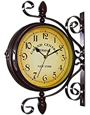 Large Outdoor Clock,8inch Classical 360°Rotation Double Sided Train Station Clock for The Garden Wall Mounted Silent Quartz Clock Outside Clock