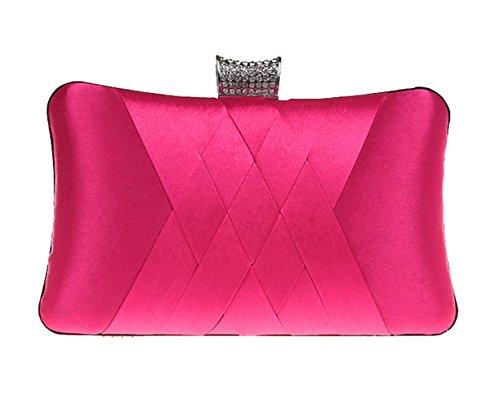 red Clutch Wedding Royal Plain Blue rose Girls Chain Party Purse Evening Bag Handbag Handheld Women Satin Ladie's gqUawXYY