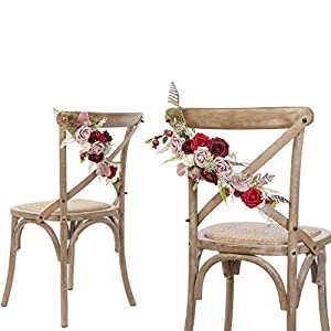 Ling's moment Chic Bohemian Artificial Flowers Chair Garland,Set of 2- Handmade Romantic Chair Back Flower with Burgundy Dusty Red Fake Roses for Christmas Day Wedding Aisle Chair Decor 1