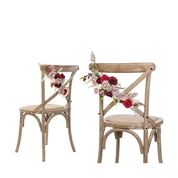 Lings-moment-Chic-Bohemian-Artificial-Flowers-Chair-GarlandSet-of-2-Handmade-Romantic-Chair-Back-Flower-with-Burgundy-Dusty-Red-Fake-Roses-for-Christmas-Day-Wedding-Aisle-Chair-Decor