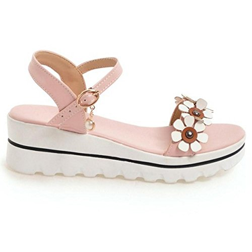 COOLCEPT Women Ankle Strap Sandals Flatform Pink iOqa1trWH7
