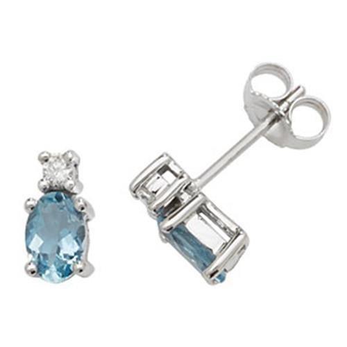 Diamant Ovale et Aquamarine Boucles d'oreilles clous or blanc 9carats OV/6x 4