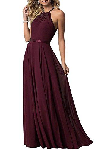 Bridesmaid Dresses Long Halter Aline Chiffon Prom Party Gown 2019 Formal Women Burgundy 4