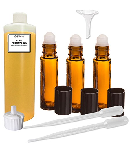 Opium Scented Perfume (Grand Parfums Perfume Oil Set - Black Opium (Ysl) Women Type - Our Interpretation, with Roll On Bottles and Tools to Fill Them (1 Oz))