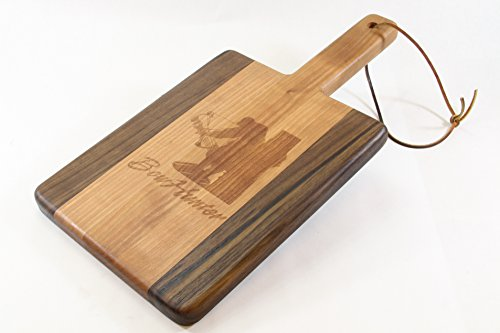 Handcrafted Wood Cutting Board - Paddle Board, Cherry & Walnut, Laser engraved, Bow Hunter, bow and arrow hunters cutting board. Great gift!