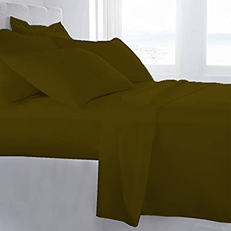 Lussona Collection 800 Thread Count 300 GSM 100 Egyptian Cotton Quality 5 Piece Comforter Includes 1 PC Comfoter 4 PCs Sheet Set 15 Deep Pocket Queen Olive