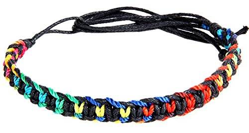 Xusamss Fashion Multilayer Color Handmade Weave Drawstring Hemp Rope Cuff Bracelet