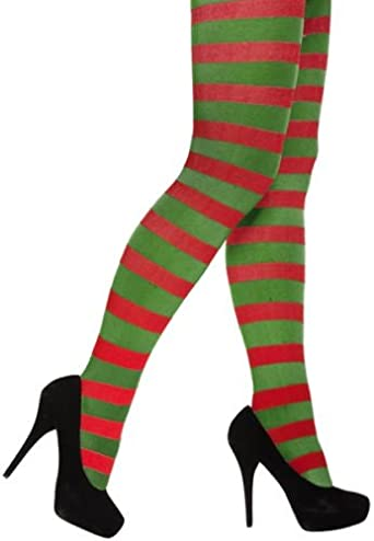 Tights Green Elf Pixie Ladies Fancy Dress In Green And Red