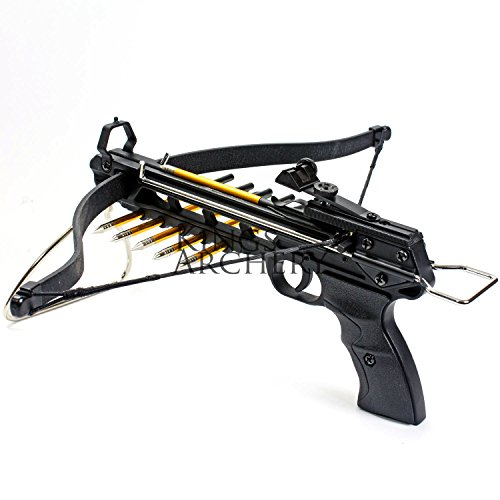 KingsArchery Crossbow Pistol with Bolt Rack Self-Cocking 80 LBS with  Adjustable Sights, 3 Aluminium Arrow Bolts, and Bonus 24-Pack of Colored  PVC