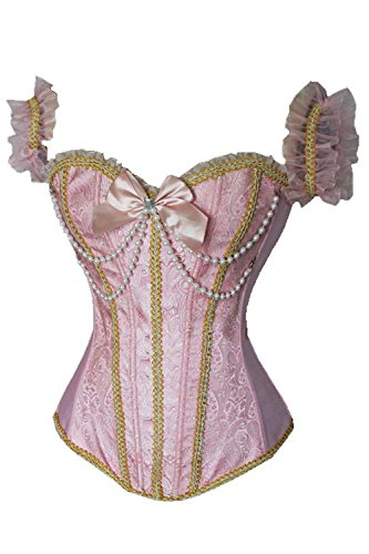 JapanAttitude Corsé Rosa Victoriano con Cuentas y Nudo, Burlesque Sweet Lolita Rose Small