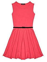 Aelstores New Girls Plain Retro Skater Dress with Belt Age Size 7-13 Years