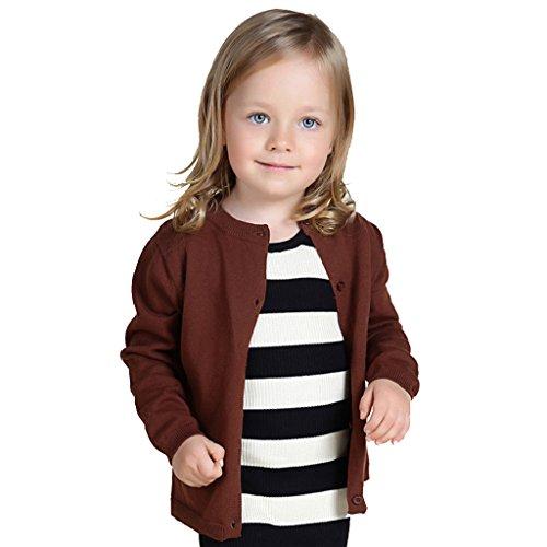 Wennikids Baby Girls' Little Knit Cardigan Button Sweater for 12M-6T Medium Brown