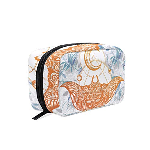 Ornate Stingray Fish Tattoo Makeup Bag Organizer Portable Cosmetic Pouch Handbag With Zipper For Women Purse -