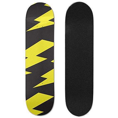 MIPU SHANGMAO Unisex Skateboard Cool Lightning Longboard Single-sided Printing Skateboards Hip-hop Skateboards (Grip Lightning Tape Skateboard)
