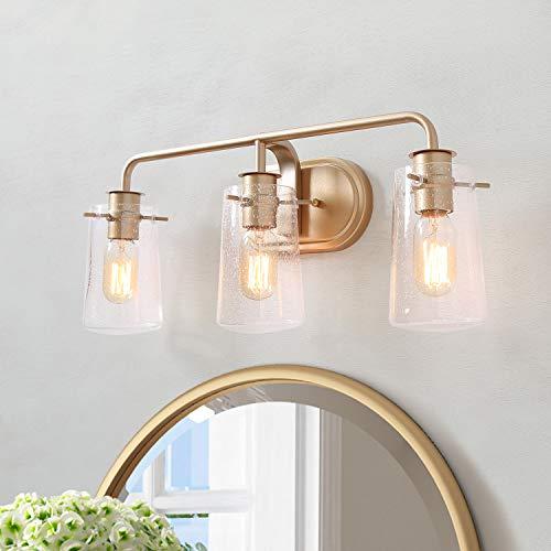 KSANA Gold Vanity Lights, 3-Light Modern Bathroom Light Fixture with Seeded Glass Shade