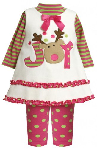 Pink and Green Fleece Reindeer Outfit for Toddler and Baby Girls