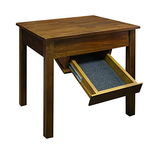 Casual Home Kennedy End Table with Concealed Drawer, Concealment Furniture, Warm Brown