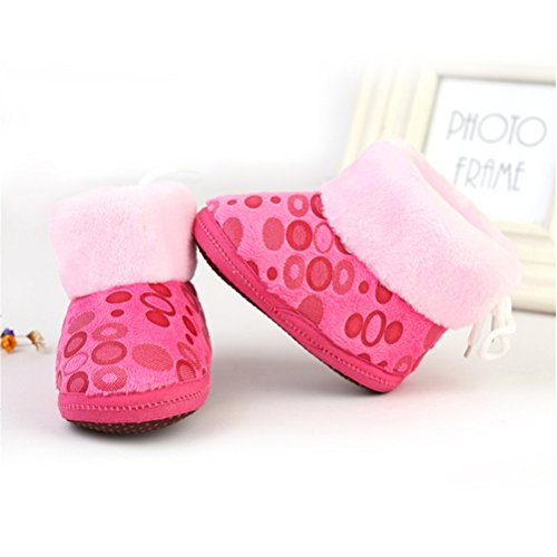 Zhhlinyuan Bebé Girls Boys Soft Sole Snow Boots Toddler Warm Cotton Shoes One Size Rose Red