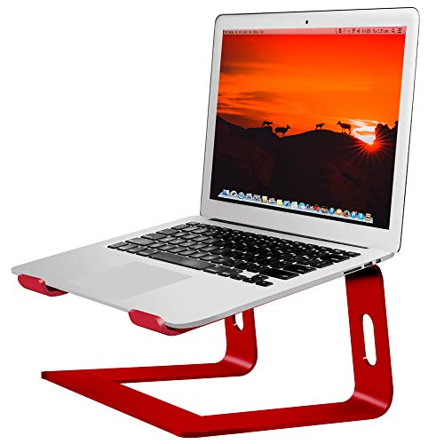 Soundance Laptop Stand, Aluminum Computer Riser, Ergonomic Laptops Elevator for Desk, Metal Holder Compatible with 10 to 15.6 Inches Notebook Computer, Red