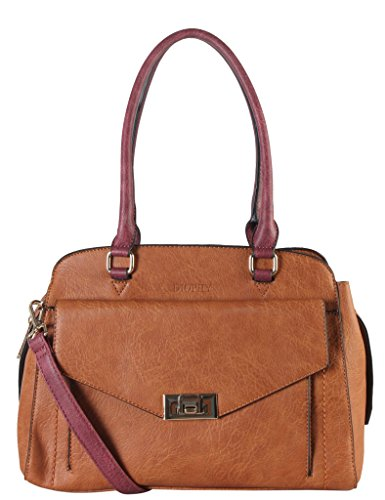Accented Front Pocket Hobo (Diophy PU Leather Two Tone Front Turn Lock Pocket Large Tote Womens Purse Handbag Accented with Removable Strap AB-028)