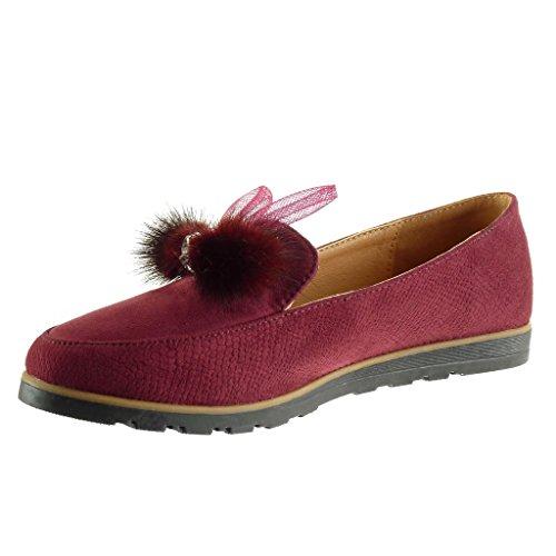 Angkorly Women's Fashion Shoes Mocassins - Bi Material - Pom Pom - Jewelry - Grained Flat Heel 1.5 cm Wine kdWWMO1S